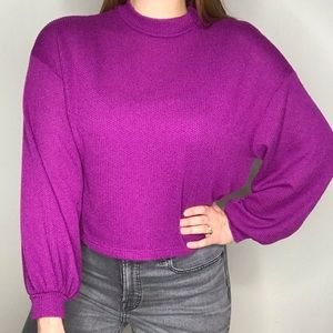 Lush Magenta Purple Crew Neck Balloon Sleeve Top